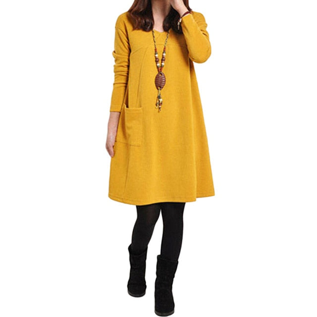 Vintage Pocket Loose Casual Long Sleeve Midi Dress