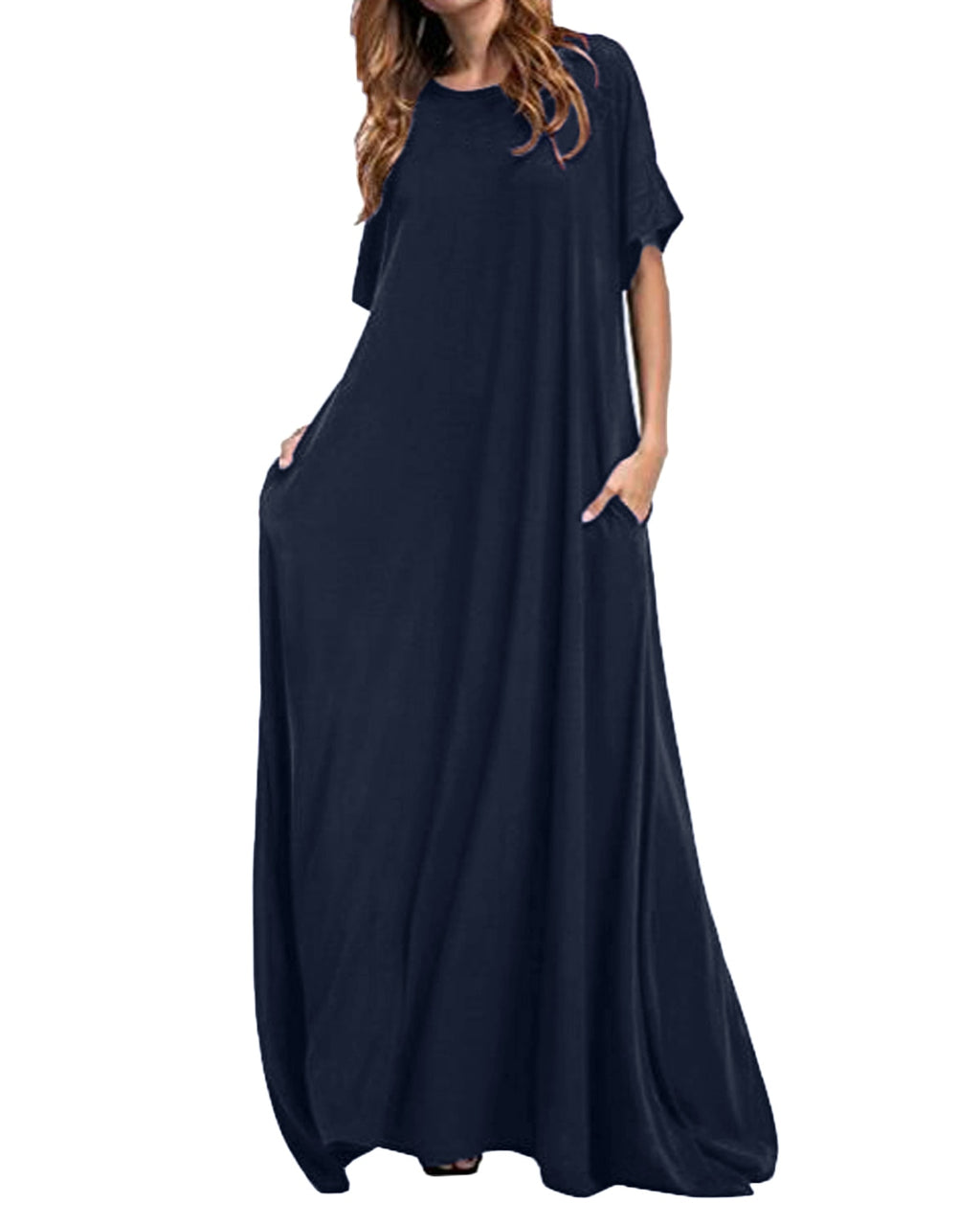 Women Half Sleeve Solid Maxi Dress