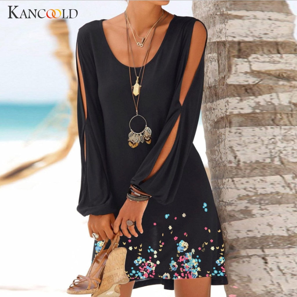 KANCOOLD Casual O-Neck Hollow Out Sleeve Dress