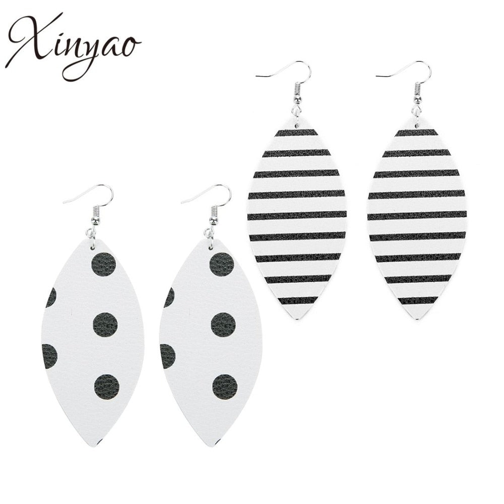 Fashion Leather Drop Big Statement Earrings