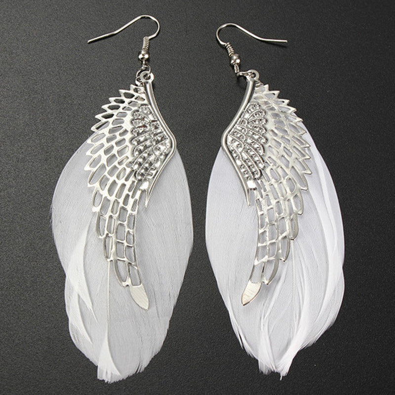 Handmade Bohemian Angel Metal Wing Earrings