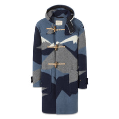 Patterned Duffle Coat in Sky