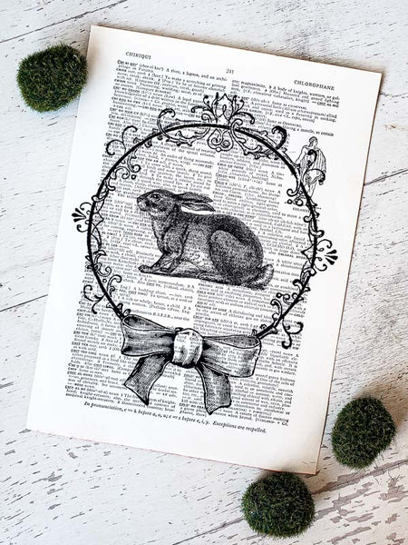 Vintage Easter Bunny Printed on Dictionary Page