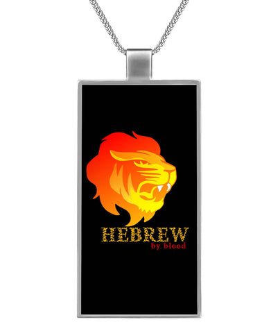 Hebrew By Blood Rectangle Necklace