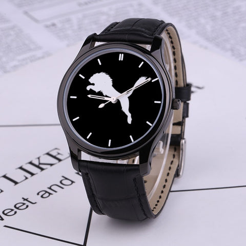 Official Judah Black Genuine Leather Watch