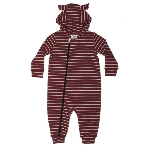 Bear Eared Playsuit Oxblood Stripe