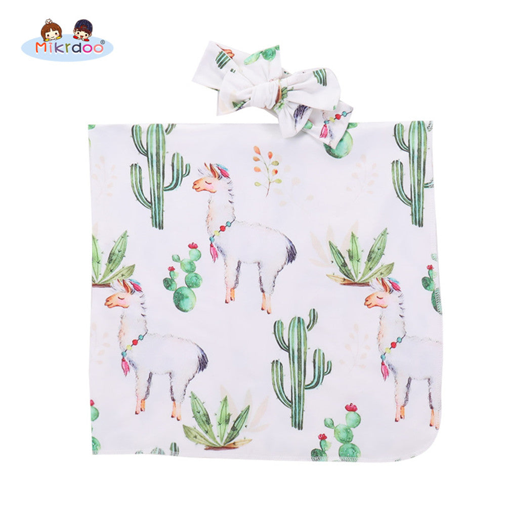 Newborn Baby Receiving Blanket Llama And Cactus Printed With Headband The Dusty Rose Shop