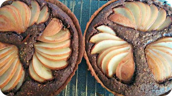 pear and chocolate tart British Food Fortnight