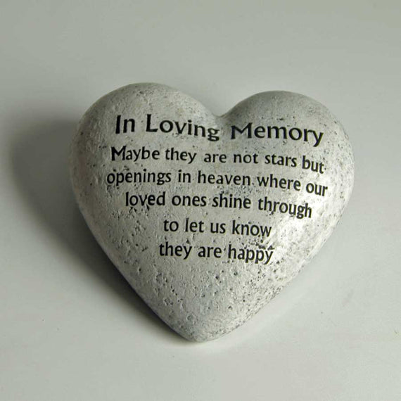 Heart shaped 'In loving memory' memorial stone