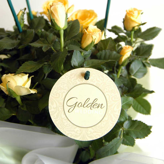 Golden Wedding Indoor Rose Bowl Label