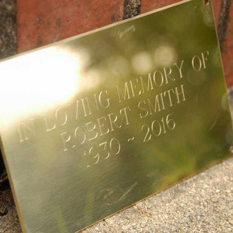 Solid Brass Plaque for Benches
