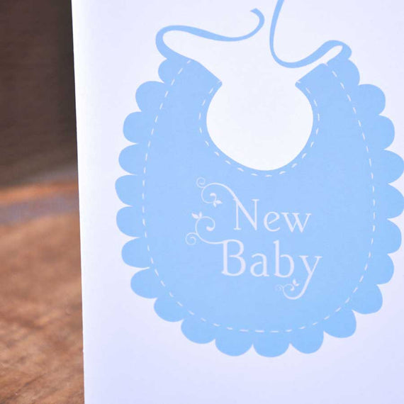 Baby Greetings Card - blue bib design