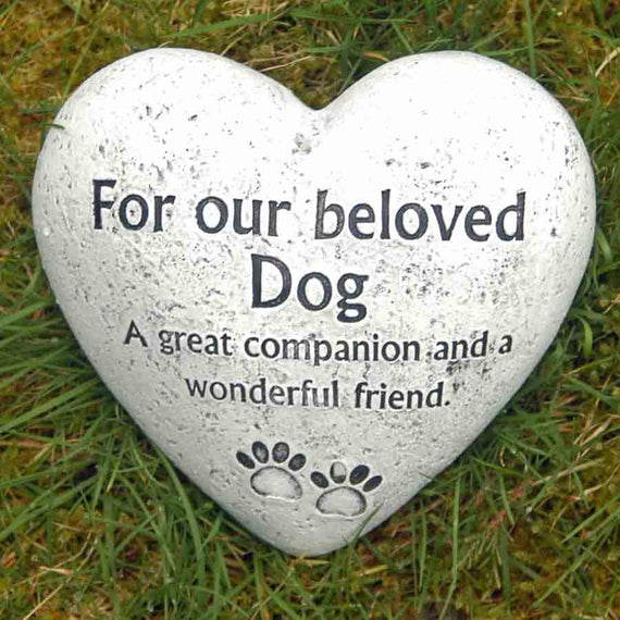 Heart shaped Beloved Dog Garden Memorial Stone