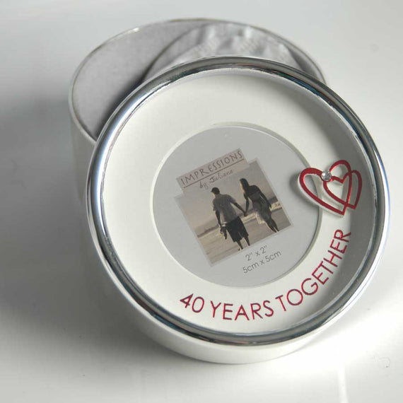 Ruby Anniversary Silver Plated Trinket Seed Box