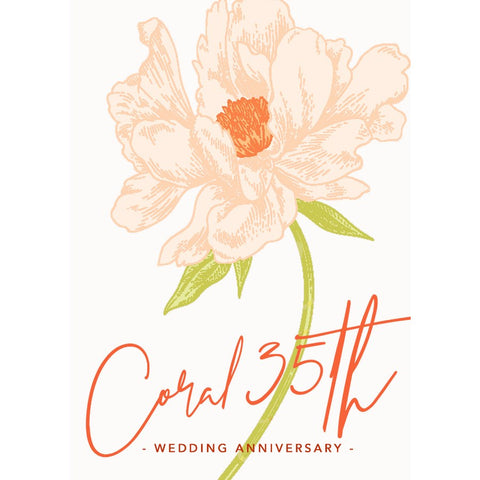 Coral Anniversary Cards