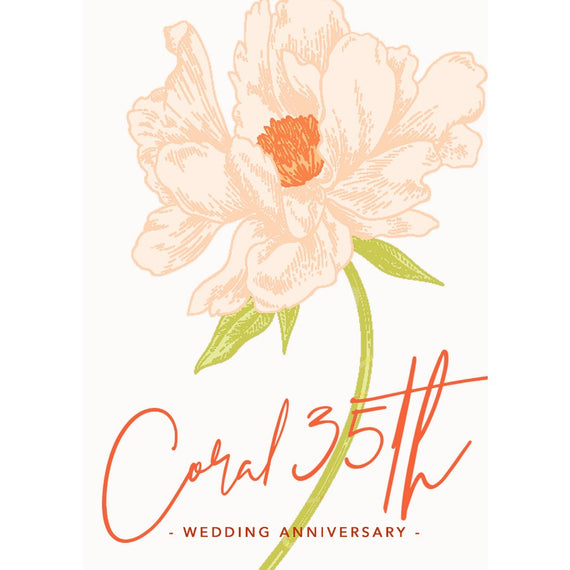 Personalise a Coral 35th Wedding Anniversary Card