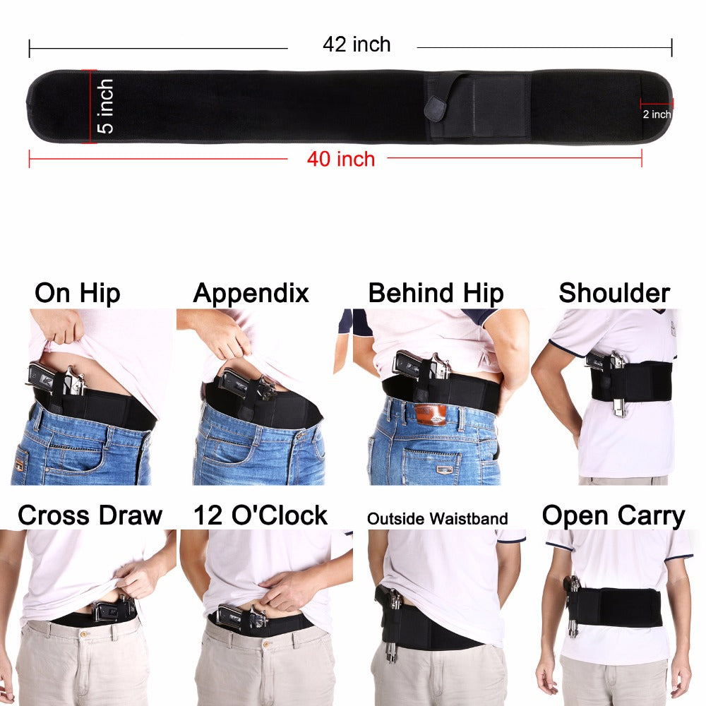 Belly Band Holster for Concealed Carry Fits Gun Glock P238 Ruger LCP and  Similar Sized Guns for Men and Women
