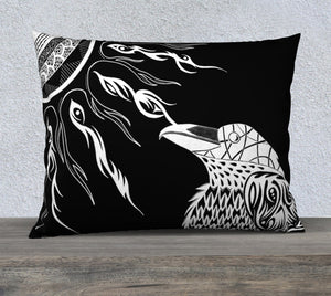 The Raven's Sun Decorative Pillow Case - Black - 26x20""