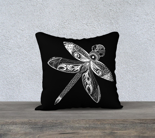 La Libellule Dragonfly Decorative Pillow Case - Black 18
