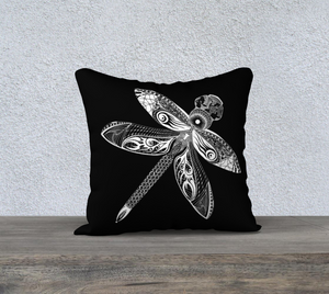 La Libellule Dragonfly Decorative Pillow Case - Black 18""