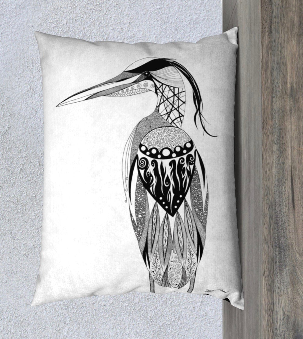 Heron's Grace Decorative Pillow Case - 14x20