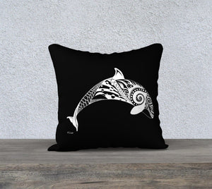 Orca's Spirit Decorative Pillow Case - Black - 18""
