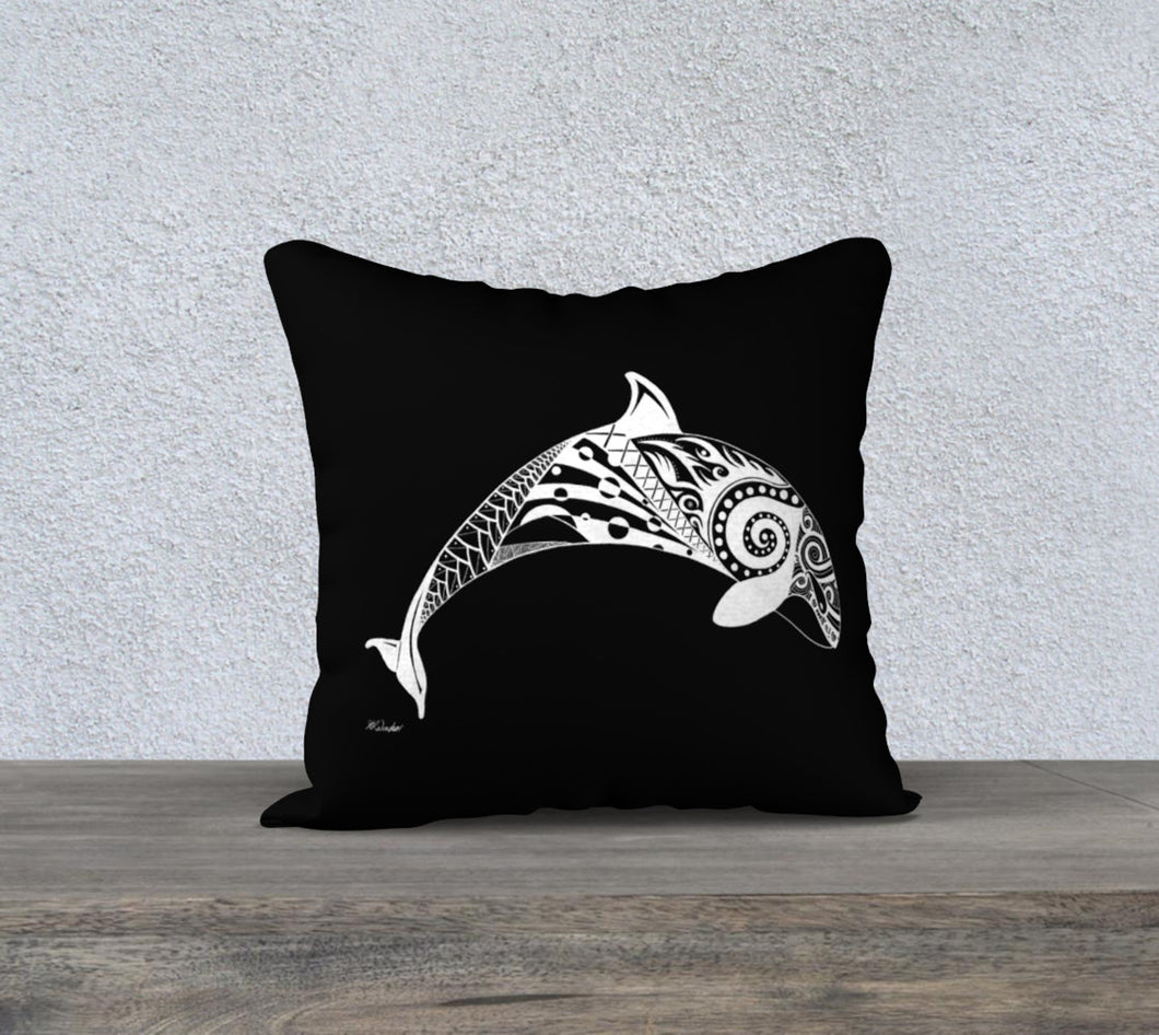 Orca's Spirit Decorative Pillow Case - Black - 18