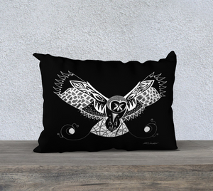 Owl's Catch Decorative Throw Pillow Case -Black