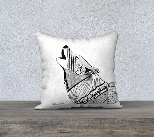 Wolf's Howl Decorative Pillow Case - White