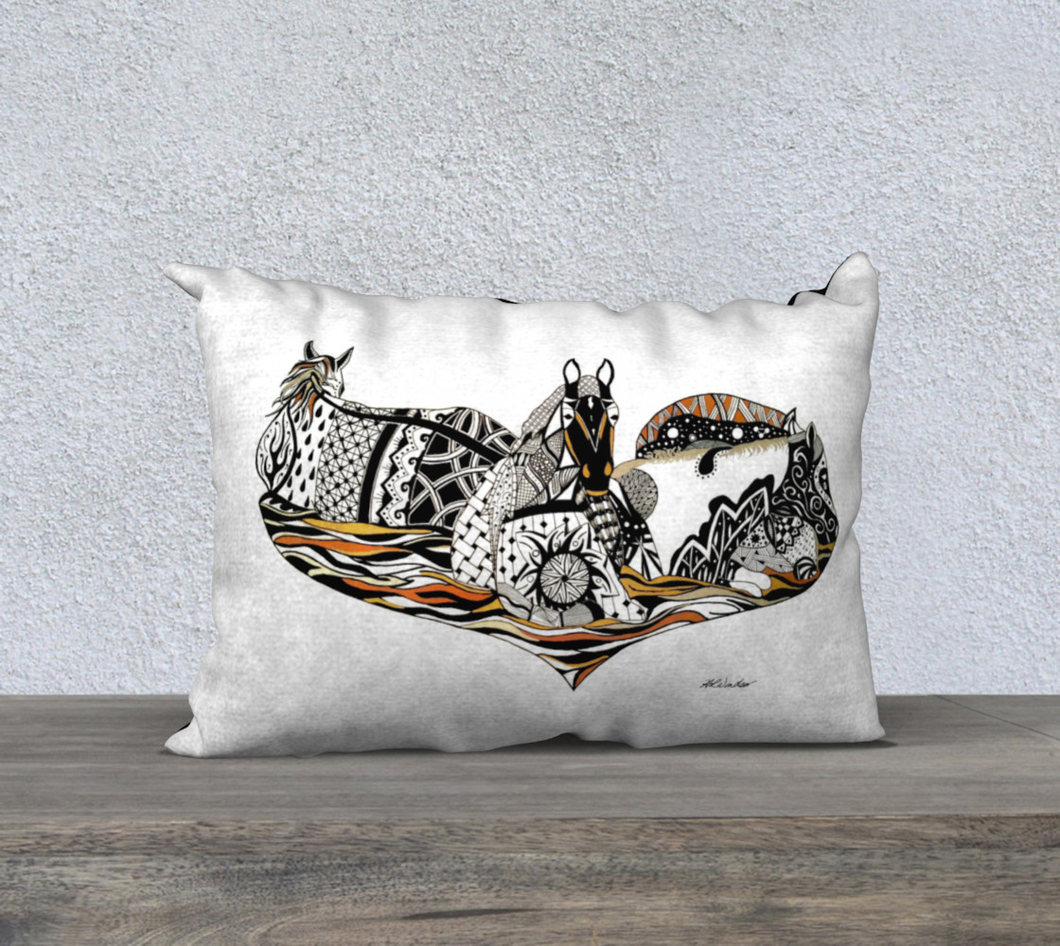 Medicine Horses Decorative Pillow Case - 14x20