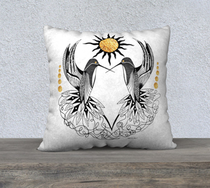 Hummingbird Pair Decorative Pillow Case - 22""