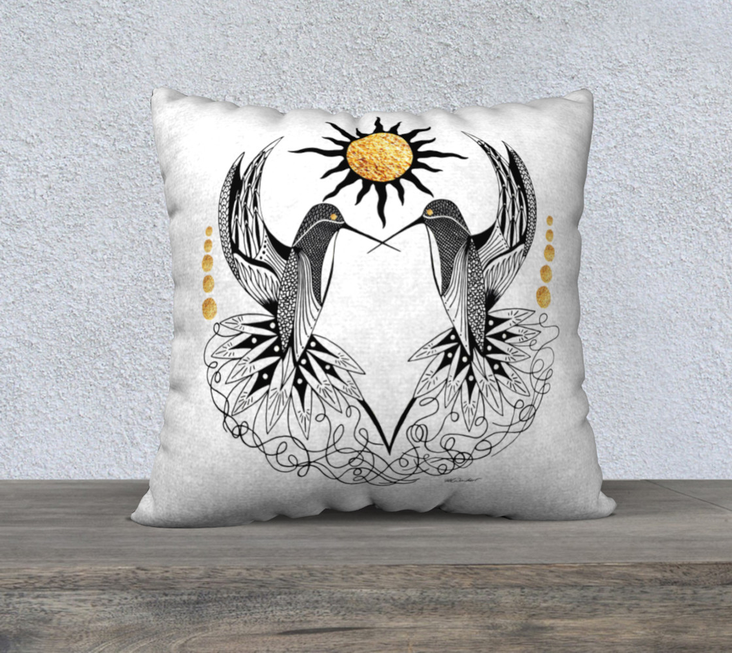 Hummingbird Pair Decorative Pillow Case - 22