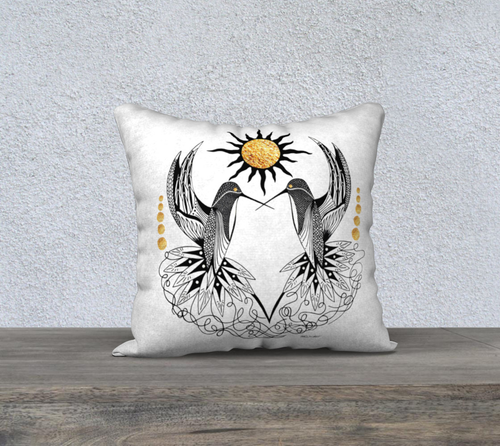Hummingbird Pair Decorative Pillow Case - 18