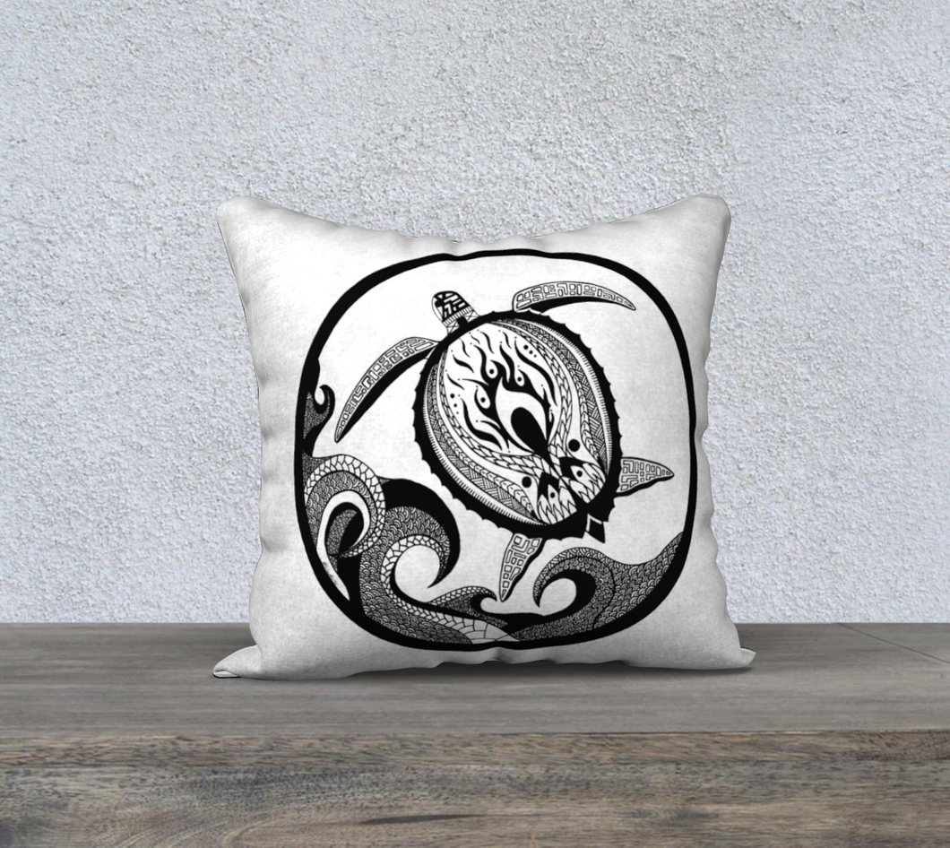 Slow Flow Turtle Decorative Pillow Case - 18