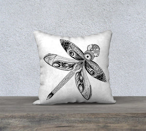 La Libellule Dragonfly Decorative Pillow Case - White 18""