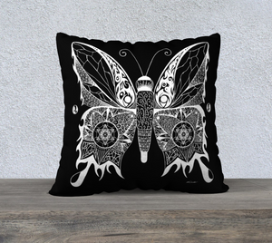 Butterfly by Night Decorative Pillow Case- 18""