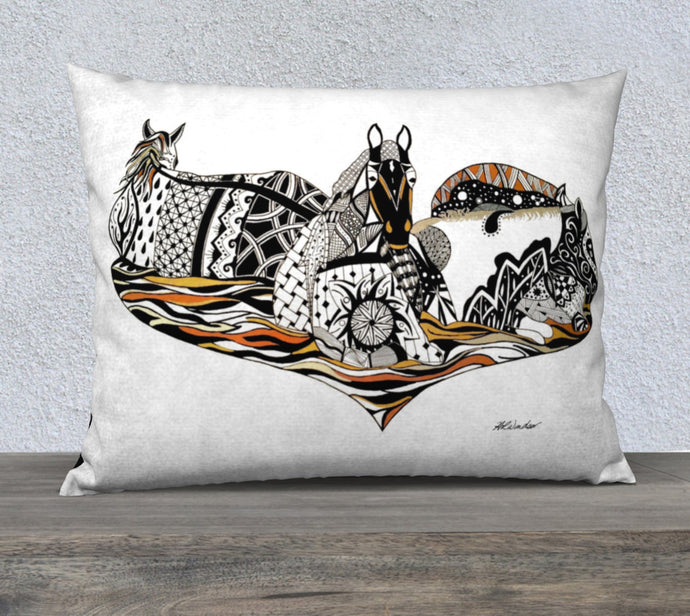 Medicine Horses Decorative Throw Pillow Case - 26x20