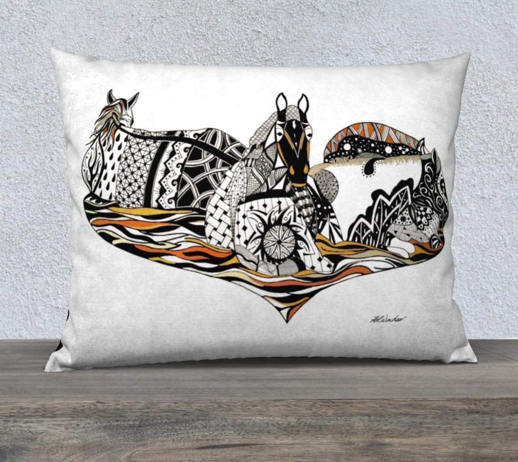 Medicine Horses Decorative Pillow Case - 26x20