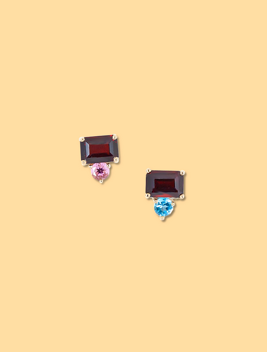 Stacy's Garnet Mismatched Studs