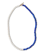 Load image into Gallery viewer, Lapis and Pearl Duo Necklace