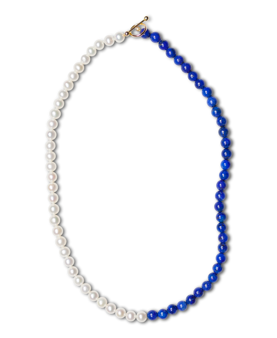 Lapis and Pearl Duo Necklace