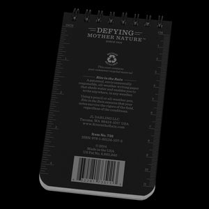 "Rite-in-the-Rain, Top Spiral Notebook, 3"" x 5"", Black, #735"