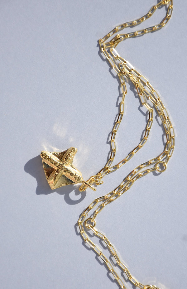 GOLD NUGGET CROSS NECKLACE