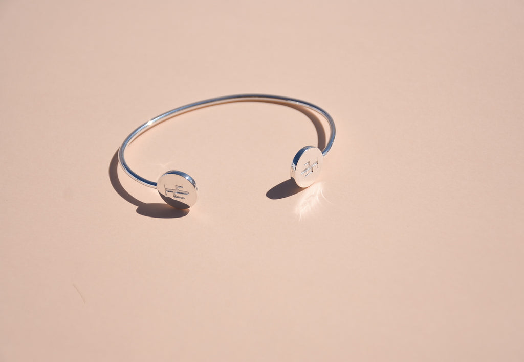 Sterling Cactus Bangle Bracelet