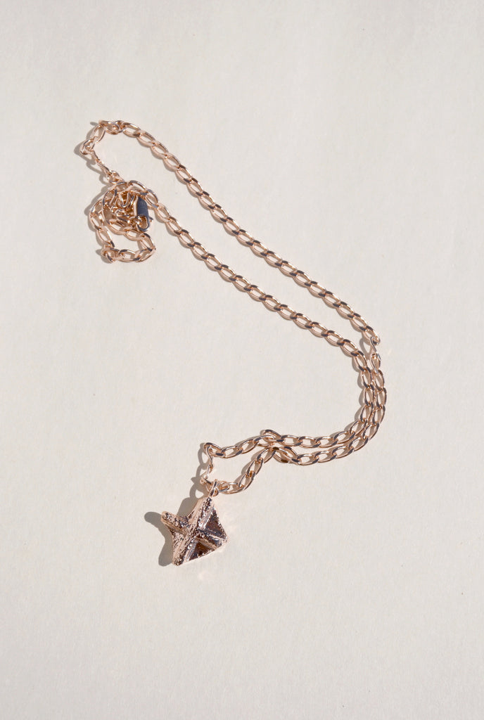 ROSE GOLD NUGGET CROSS NECKLACE