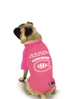 Montreal Canadiens NHL Dog Fan Shirt French-Pink