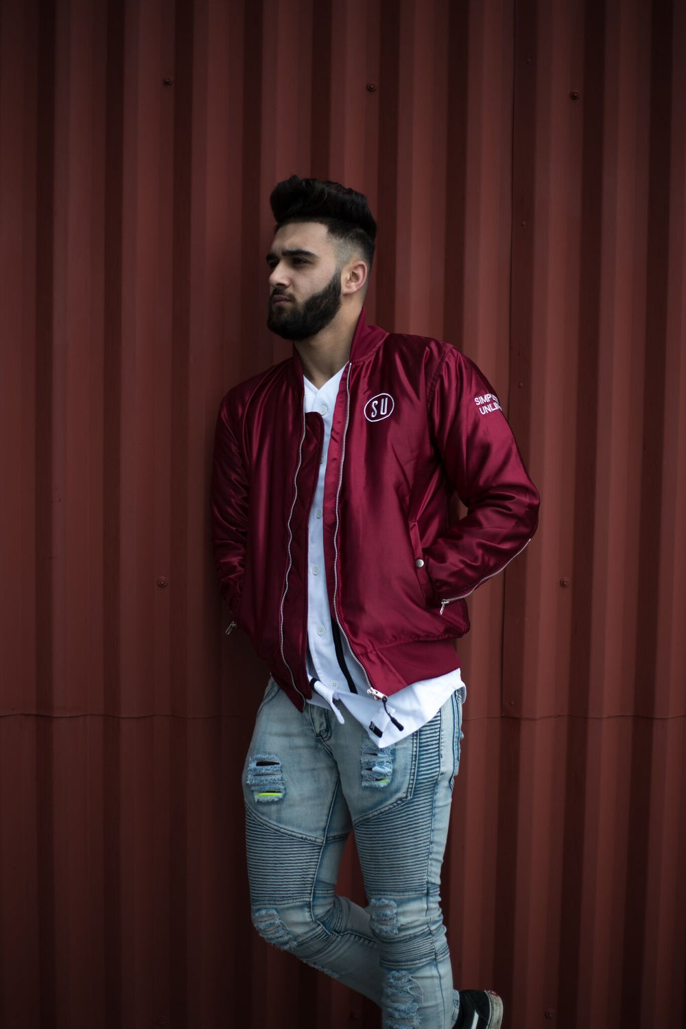 Burgundy Limited Edition Simplicity Bomber jacket