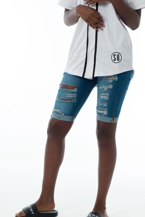 Women's blue ripped shorts