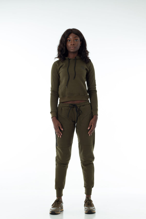 Khaki Simplicity Tech Cropped Tracksuit (Full)