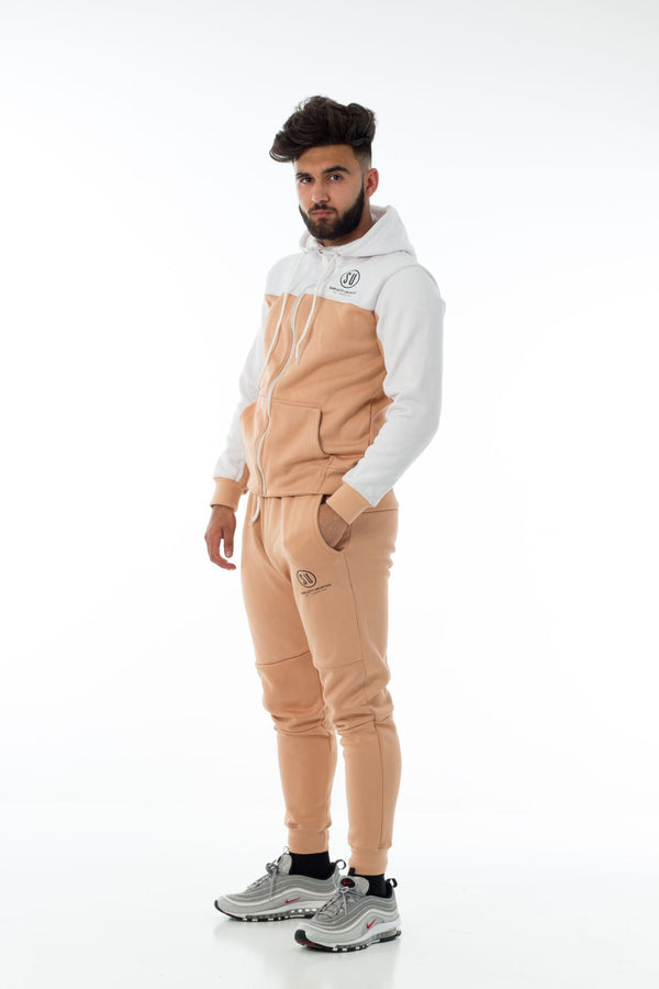 White / Tan Simplicity Tech Joggers